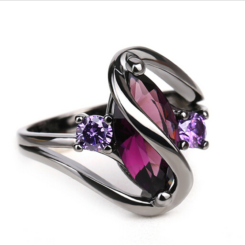 Hot Fashion Luxury Vintage Purple Zircon CZ Crystal Colorful Rings For Women Wedding engagement Jewelry stainless steel rings 4