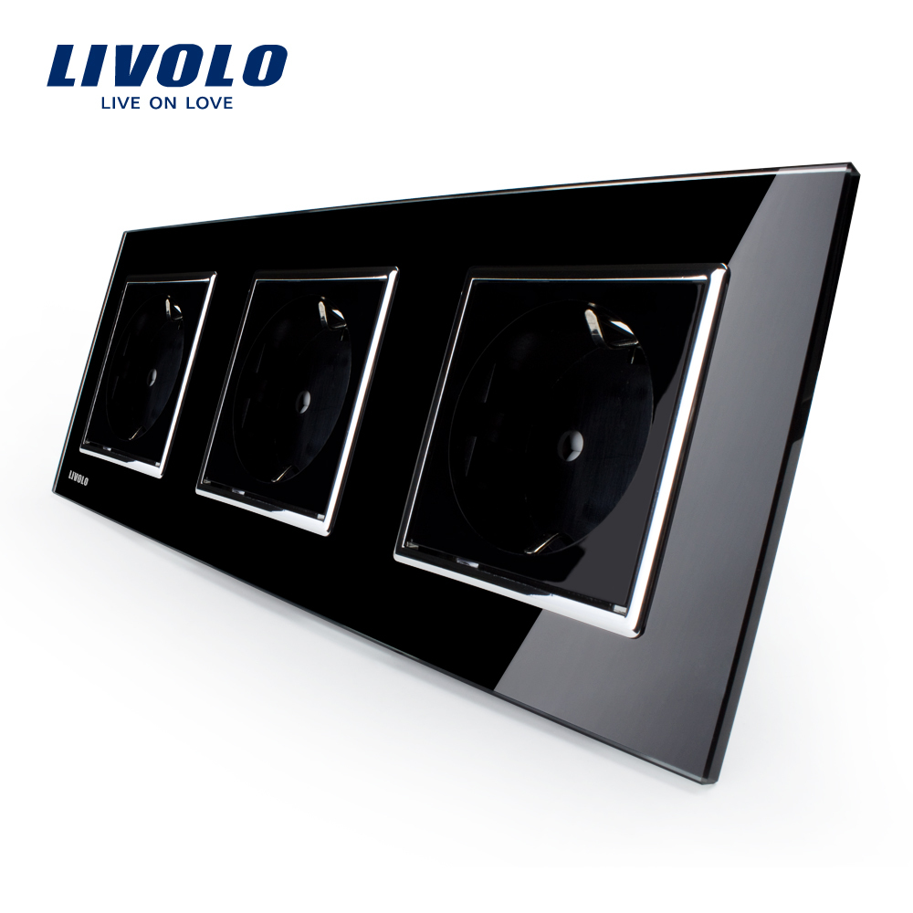 Livolo EU Standard Socket, Black Crystal Toughened Glass Outlet Panel, Triple Wall Power Sockets Without Plug,VL-C7C3EU-12<br><br>Aliexpress