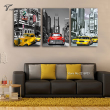 Triptych Modern Wall Pictures Car Picture Canvas Painting Urban Night Scene Printed Cuadros Decoration For Living Room No Frame(China)