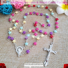 free shipping cheap colorful childish plastic rosary /pentagram necklace/ finvepintedstar bead rosario special offer(China)