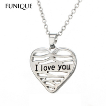FUNIQUE Heart Charms Necklace Women Heart tag brand name jewelry silver tone Lovers' Necklaces & Pendants Jewelry Gift For Women