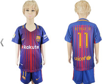 KGTTNEW BARCELONAS Top quality Thai AAA Qualit KIDS Messis Soccer jersey Kit 2017-18 Home Away 3RD green men shirt Short-sleeves
