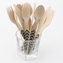 Chevron Design Disposable Wooden Cutlery for Wedding Party Favor Tableware Supplies 60pcs/lot(China)