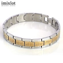 Fashion Male Jewelry Man Bracelet Pattern Carved Stainless Steel With Gold Bracelets For Men Male Bangles
