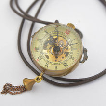 See Through Bronze Tone Crystal Ball Design Hand Wind Mechanical Pocket Watch +Leather Chain Nice Gift Wholesale Price H033(China)