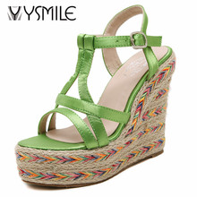 Free shipping small size34 women espadrilles platform sandals 2017 fashion summer wedges sandal shoes female shoes(China)