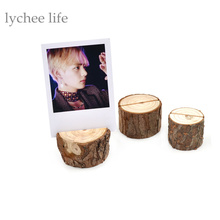 Lychee 1pc Random Natural Wooden Card Holder Seat Folder Rustic Photo Holder Wedding Place Card Table Number Holder