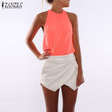 Buy ZANZEA Halter Tops 2018 Fashion Women Sexy Chiffon Summer Tank Top Casual Sleeveless Solid Elegant Office Vest Plus Size Blusas