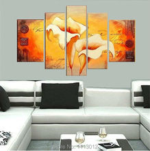100% Hand Painted 5 Pcs Abstract Narcissus Flower Oil Painting On Canvas Home Wall Art Decotation Modern Picture For Living Room