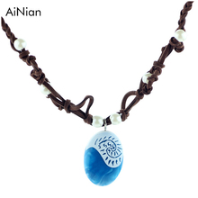 AiNian Moana Ocean Romance Rope Chain Necklaces Blue Stone Te Fiti Heart Pendants Necklace For Women Female Jewelry(China)