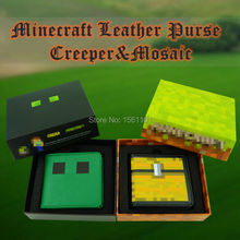 Hot  Minecraft Wallets Model Exquisite Packaging Creeper Leather Purse Toys Cartoon Design Mosaic Bags Wallet  Birthrday Gift