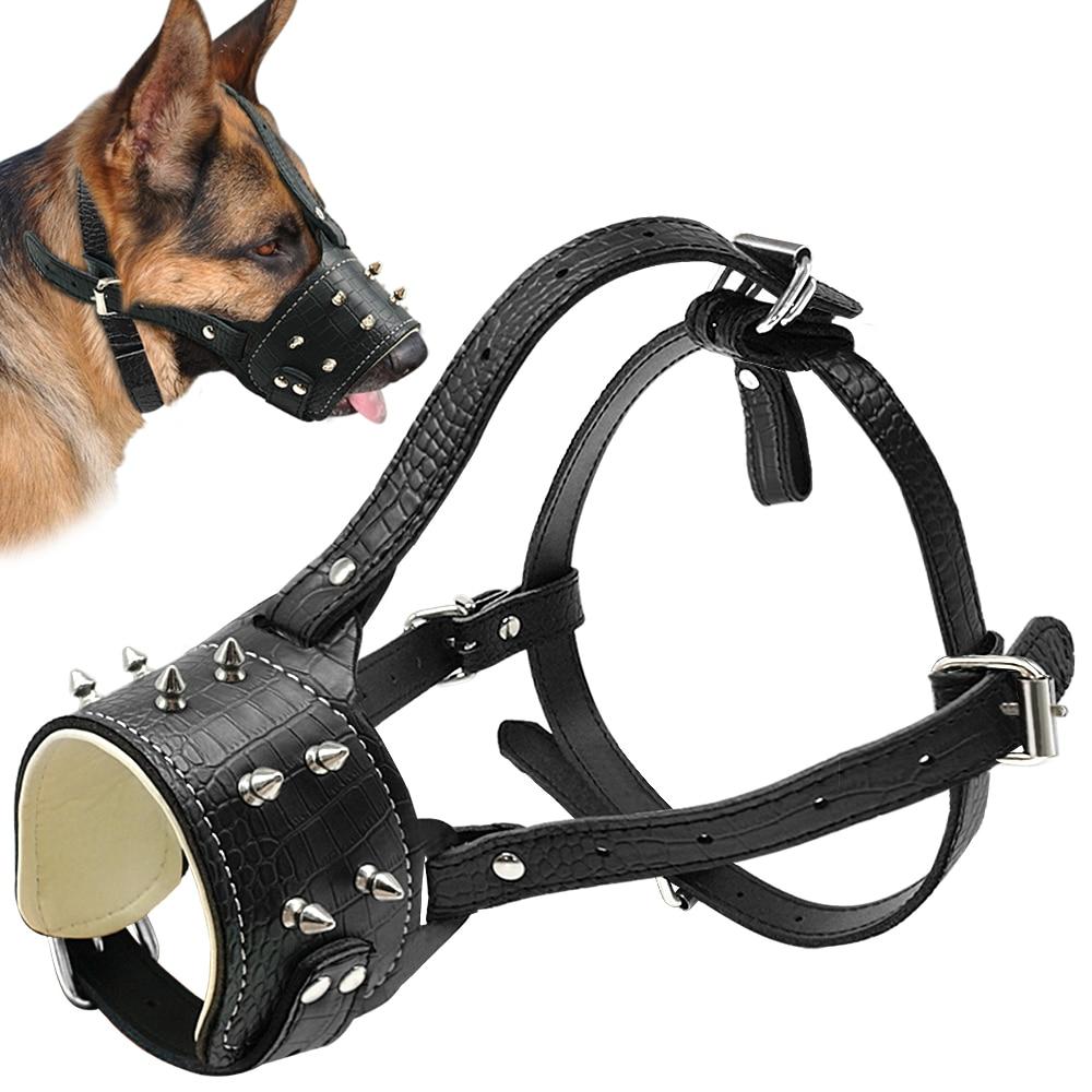 Dog Muzzle Soft Genuine Leather Adjustable Safety Muzzle for Large Dog PitBull
