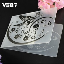 DIY Cake Stencil Dies Mold Flower Butterfly Biscuit Plastic Embossing Folder Scrapbooking Album Card Cutting Template Craft Tool