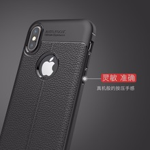 50pcs/lot For iPhone X Case,Litchi pattern TPU soft case anti-knock back cover(China)