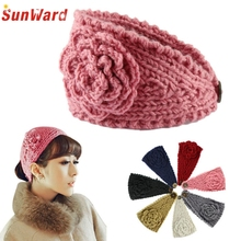 2015 New Amazing Fashion Women Crochet Headband Knit Hairband Flower Winter Head wrap Girl Hair Accessories