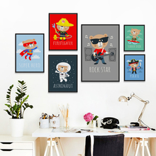 Bianche Wall Simple Love Dress Up Bernie Bear Cartoon Canvas Art Painting Print Poster Picture Wall Baby Dream Bedroom Decor(China)