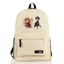 Sword Art Online School Book Bag SAO Kirigaya Kazuto Asuna Cosplay Unisex Shoulders Bag Backpacks(China)
