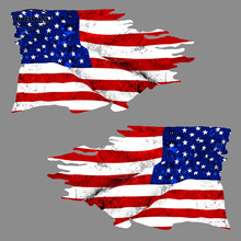 USA TATTERED Flag Car Stickers Rearview Mirror Sticker 2 Pack MIRRORED American Bumper 3D Waterproof Vinyl Decal Car Accessories(China)