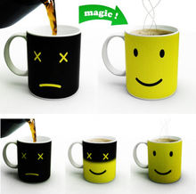 Urjik Creative Smile Face Colour Expression Changes Ceramic Coffee Mug Magical Temperature Sensing Coffee Cups Novelty Gift