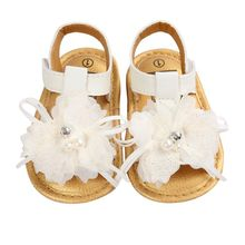 New Summer Lovely White Flower Decor Baby Girls Sandals Soft Sole Princess Infant Shoes DH