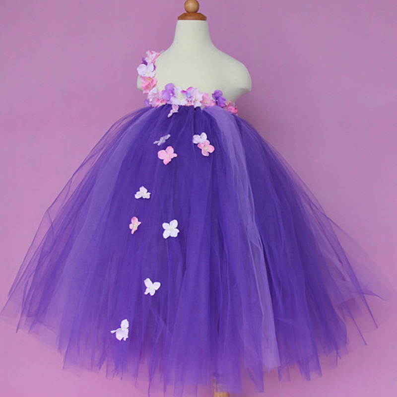 New Flower Fairy Girl Tulle Tutu Dress Baby Girl Wedding Dress Kids Birthday Party Performance Dresses For Children Ball Gowns <br>