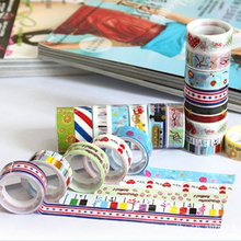 Office Stationery Gift Wholesale Mixed Cartoon Deco Washi DIY Tape Adhesive Scrapbooking Sticker for Students Child
