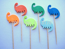cheap Dinosaur Orange Blue Green Party Picks - Cupcake Toppers - Toothpicks wedding baby shower birthday party favors(China)