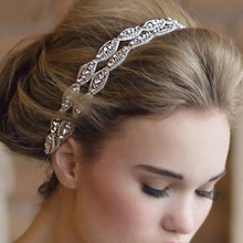 Fashion 2016 Sweet Sweet Women Girls Handmade Beaded Diamond-encrusted Weeding Hairband Rhinestone Crystal Headband 03B0093
