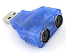 USB to PS/2 Adapter PC Keyboard Mouse Converter Adapter For Desk PC Computer or Laptop Blue