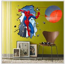Super Hero Spider Man Cracked Mural Art Wall Sticker PVC Decals Kids Room Decor Spiderman jump off the wall wall stickers