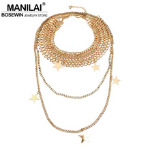 MANILAI T Show Chunky Chain Collar Choker Bohemia Statement Necklace Fashion Star Pendant Long Chain Necklaces For Women 2017(China)