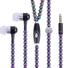 Shining Jewelry pearl Necklace Earphones with Mic Birthday gift 3.5mm earbuds for Smart phone 3.5mm Audio Devices for MP3 Player(China)