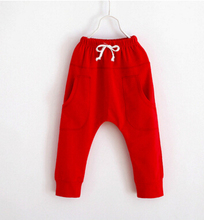 2016 Boy Harem Capris Pants For Age 2-7 New Cute Candy Color Cotton Child Clothing Solid Kids Children Long Pants(China)