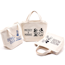 Kawaii Mickey Minnie Canvas Lunch Bag Women Zipper Handbag Tote Snoopiee 19*11*21 CM Kids Christmas Gifts Brinquedos