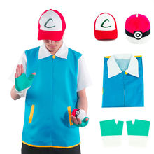 Really Cool Men Pokemon Go Pocket Monster Ash Ketchum Trainer Costume Cosplay Shirt Jacket + Gloves + Hat + Ball