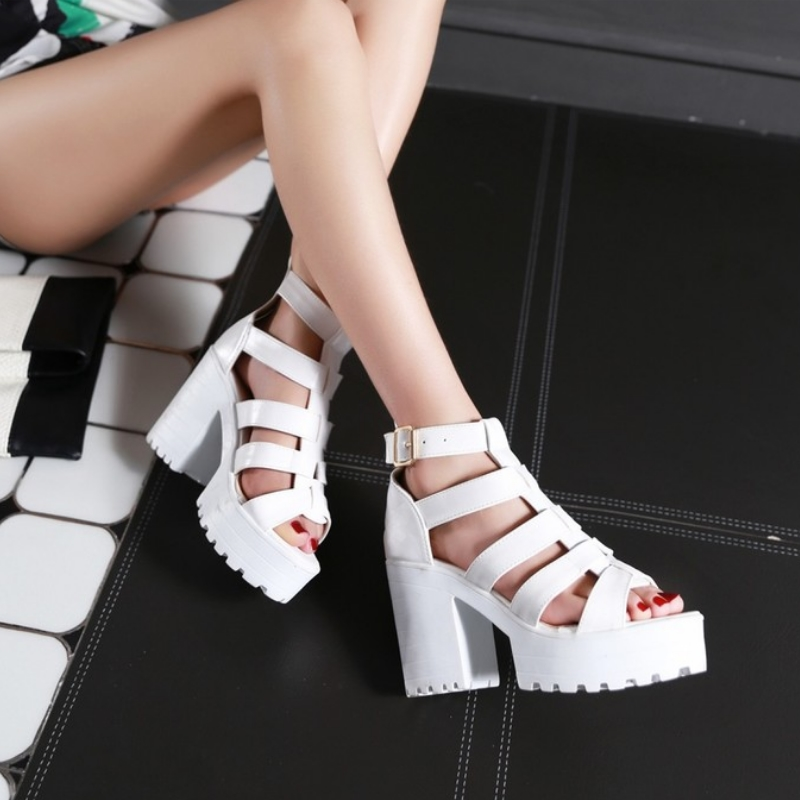 New Fashion Rome Style Shoes, Women Solid Peep Toe Gladiator Shoes, Buckle Platform Women Sandals 14