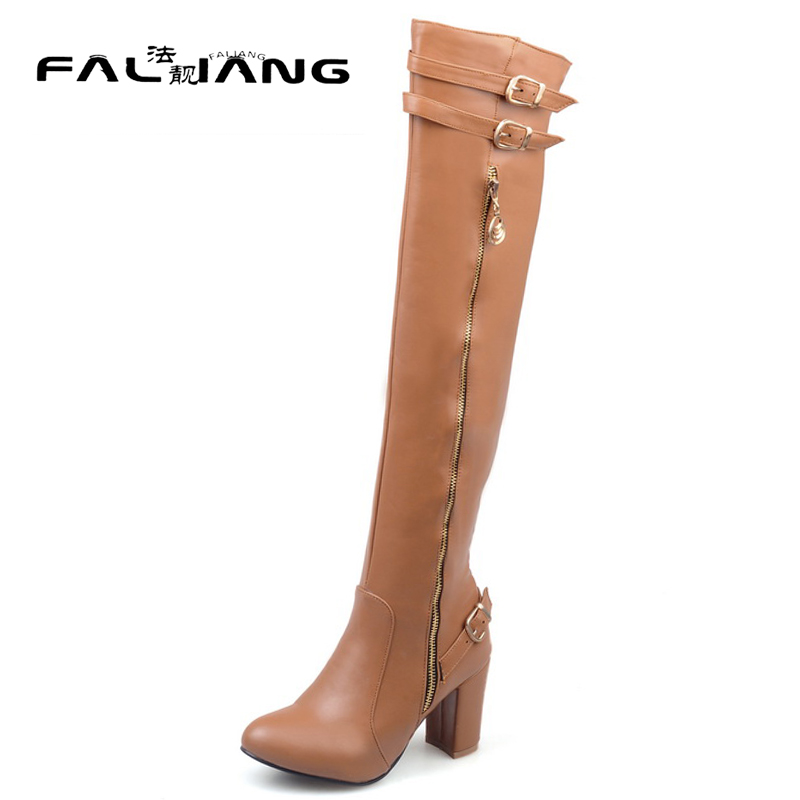 New arrival Winter plus size 11 12 13 14 Fashion Zipper Metal Decoration Rough with Over-the-Knee High Heels Winter Boots<br>