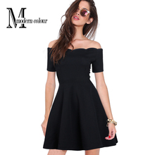 Off Shoulder Black Dress Women Summer 2016 New Fashion Short Sleeve Womens Sexy Dresses Party Night Club Dress Mini For Ladies