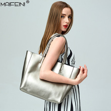 MAIFEINI 2017 new casual commute bag ladies handbag real leather design large capacity soft simple woman tote bag quality Y1002(China)