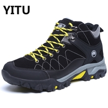 Fur Lining Men Boots 2017 Winter Snow Boot Men's Sport Mid Hiking Boots Mountain Ridge Men Waterproof Hiking Backpacking Shoes