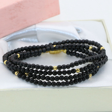 Hot sale magnetic clasp 3mm natural black onyx carnelian round beads long chain multilayer bracelets 4 rows unique jewelry B2791