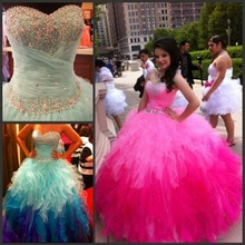 Sweetheart Rainbow Colored Quinceanera Dresses 2016 Crystal Beadings Organza Ruffle Skirt Ball Gown Sweet 15 Prom Dresses