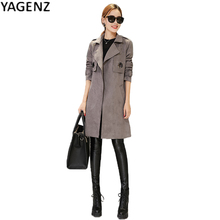 YAGENZ Autumn Women suede Coat 2017 Winter Fashion Long Sleeve Overcoat Women Temperament Outwear High-end Fashion Trench Coat