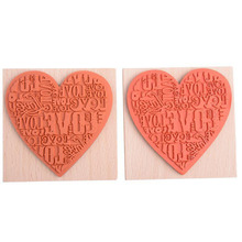 1Pcs DIY Wood  Stamp Heart Shape Blocks Wooden Rubber Craved Printing Stamp Craft School Scrapbooking Decor