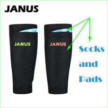 JANUS Football Soccer Shin Guards Socks Black With Shin Pads Goalkeeper Training Shin Protector(China)