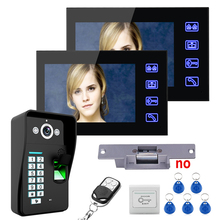 "7"" 2 Monitors Fingerprint Recognition Video Door Phone Intercom System Doobell kit + Electric Strike Lock + Wireless Remote Unl(China)"