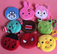 wholesale Full NEW All Designs , Cartoon 8cm plush coin BAG , children's cheap Coin Purse Pouch ; plush Coin Wallet Pouch bag