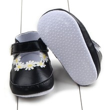 Newborn Soft Toddler Baby Infant Girl Flower PU Leather Anti-skid Crib First Walkers Shoes Black