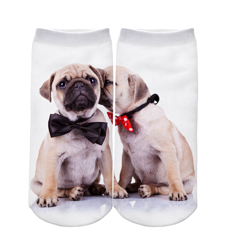 JUMEAUX 4 Pairs Newly Funny 3D Dogs Pug Printed Socks Women Low Cut Ankle Socks for Women Men Unisex 17 7