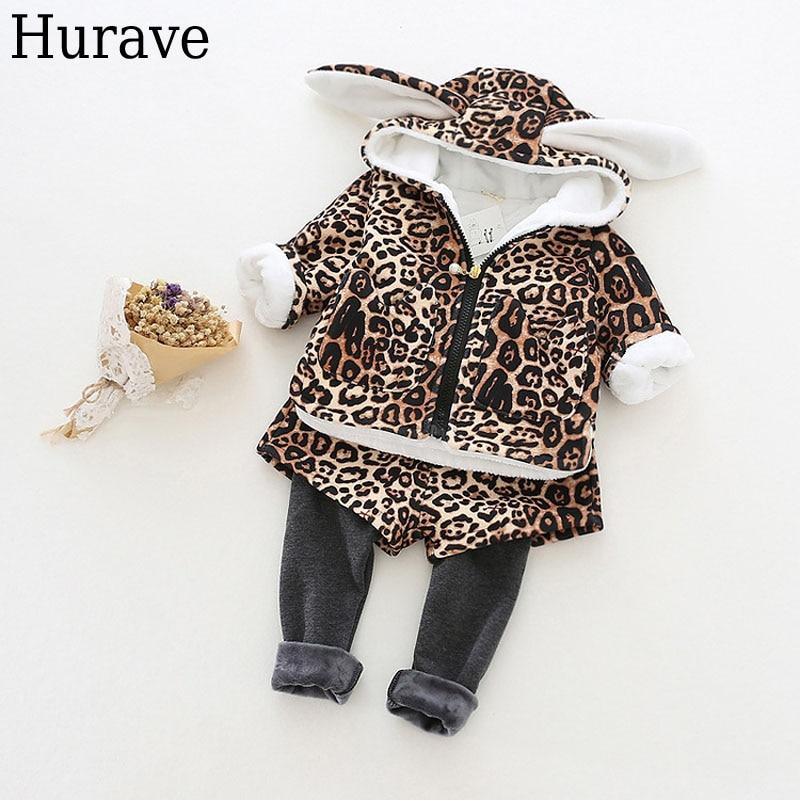 Hurave children clothes leopard pattern cute rabbit ears hooded cashmere jacket + skirt pants suit 2 pcs  et<br>